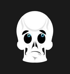 skull surprised emoji skeleton head astonished vector image vector image
