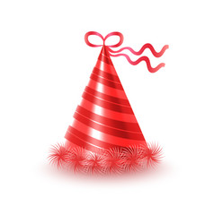 striped red party hat with ribbon icon vector image vector image