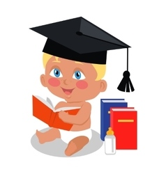 Baby Sitting on Floor with Big Book in Square Cap vector image