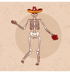 Dancing skeleton in sombrero with flower grunge vector