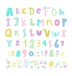 Funny font Letters numbers and flowers vector image