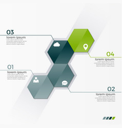 infographic template with 4 hexagons vector image