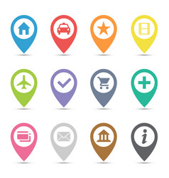 map pin icon set vector image vector image