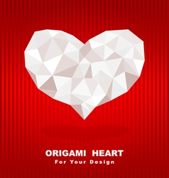 origami heart on red background vector image