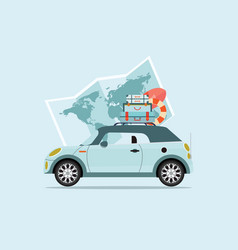 planning summer vacations travel by car vector image vector image