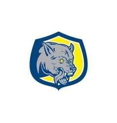 Angry Wolf Wild Dog Head Shield Retro vector image
