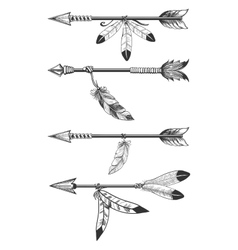 Arrows with feathers and beads vector