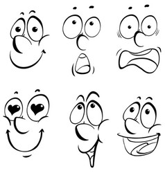 different facial expressions on white background vector image