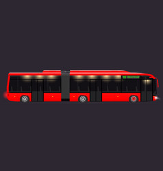 large articulated bus red with modern design vector image