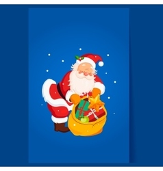 Santa claus holding a sack with toys christmas vector