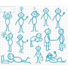set of funny cartoon little man vector image