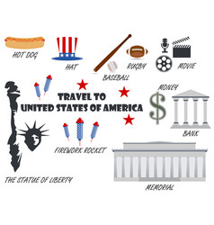 welcome to usa symbols united states set vector image