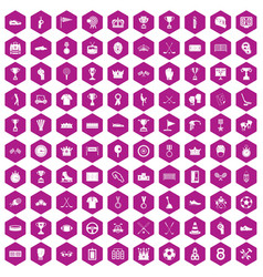 100 awards icons hexagon violet vector