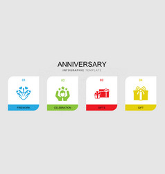 4 anniversary filled icons set isolated on vector image