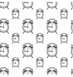 Alarm clock analog watches in doodle and sketch vector