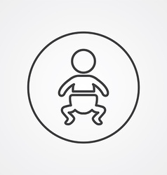 baby outline symbol dark on white background logo vector image