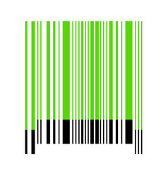bar code sign green 3d icon with black vector image