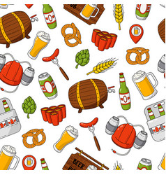 beer cartoon doodle seamless background vector image