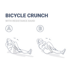 Bicycle crunch abs female home workout exercise vector