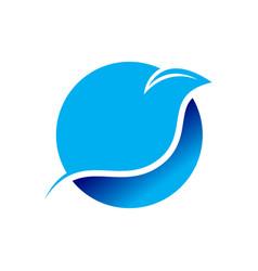 Bird line swoosh circular symbol design vector