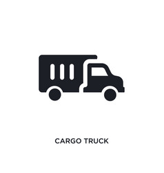 Black cargo truck isolated icon simple element vector