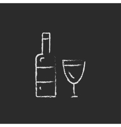 Bottle and a glass icon drawn in chalk vector image