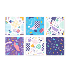 Bundle seamless patterns with geometric shapes vector