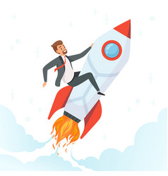 businessman on rocket concept of launch startup vector image
