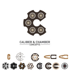 C letter caliber and chamber concepts symbol set vector