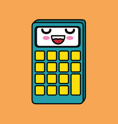 Calculator math character kawaii vector