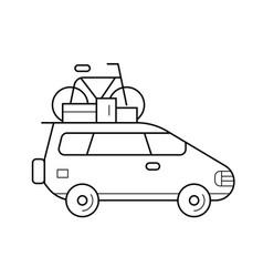 car trip line icon vector image