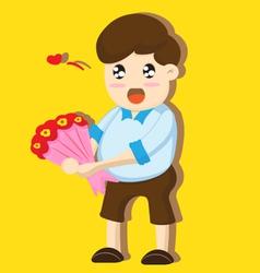 Cartoon boy present flowers vector image