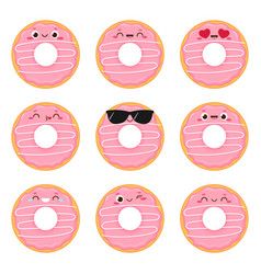 Cartoon cute pink donut set with happy face vector