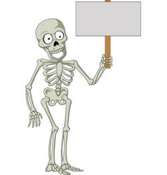 cartoon skeleton holding blank sign vector image