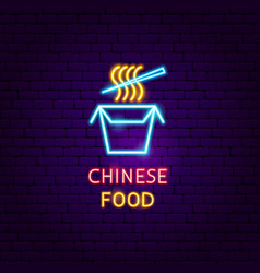 Chinese food neon label vector