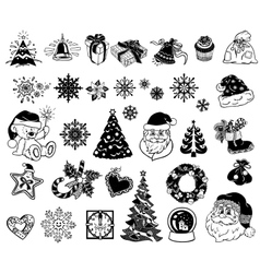 Christmas doodle icons vector
