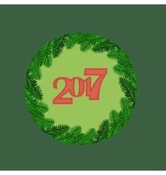 Christmas Round Banner with Fir Branches vector image