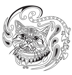 Coloring antistress cat 6 vector