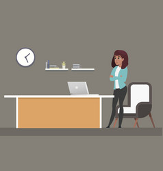 confident businesswoman standing at workplace vector image