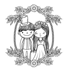 Couple marriage cute cartoon black and white vector