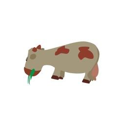 Cow Eats the Grass EPS10 vector