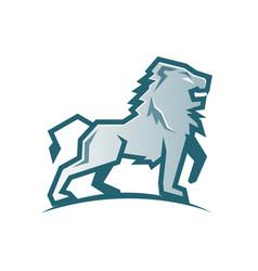 Creative abstract silver lion logo vector