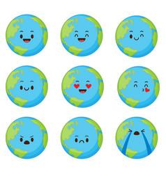 cute cartoon planet earth set vector image