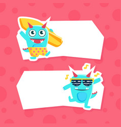 cute funny monsters with place for your text vector image