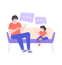 Dad and little son are sitting on couch vector