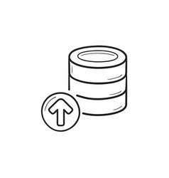 database storage upload hand drawn outline doodle vector image