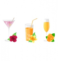 drinks with flowers vector image vector image