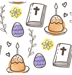 easter pattern with eggs cake and bible vector image