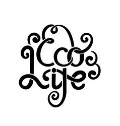 eco life ink lettering with curls stylish quote vector image