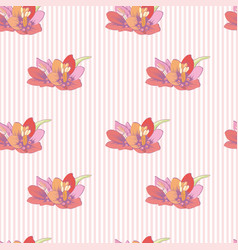 Flowers on a striped background seamless pattern vector